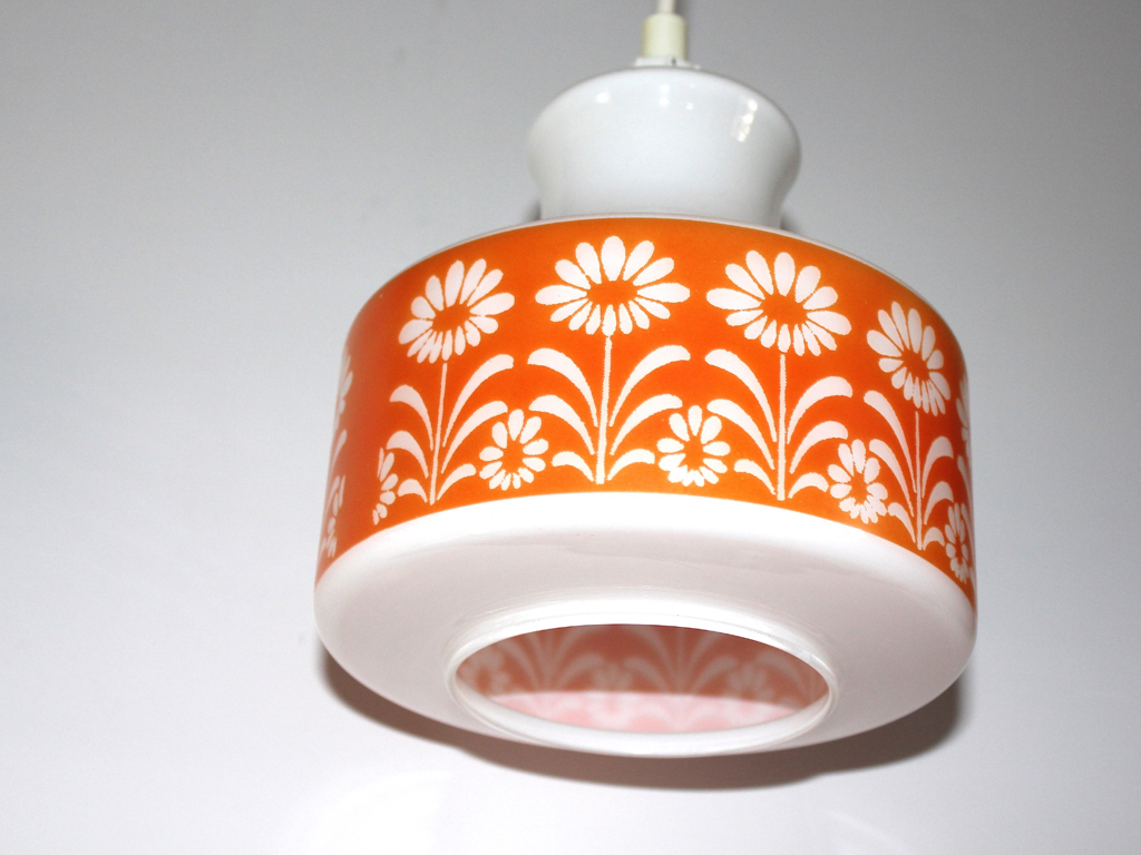 Suspension-verre blanc et orange-fleurs-vintage