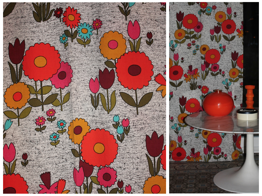 Tissu seventies Flower Power
