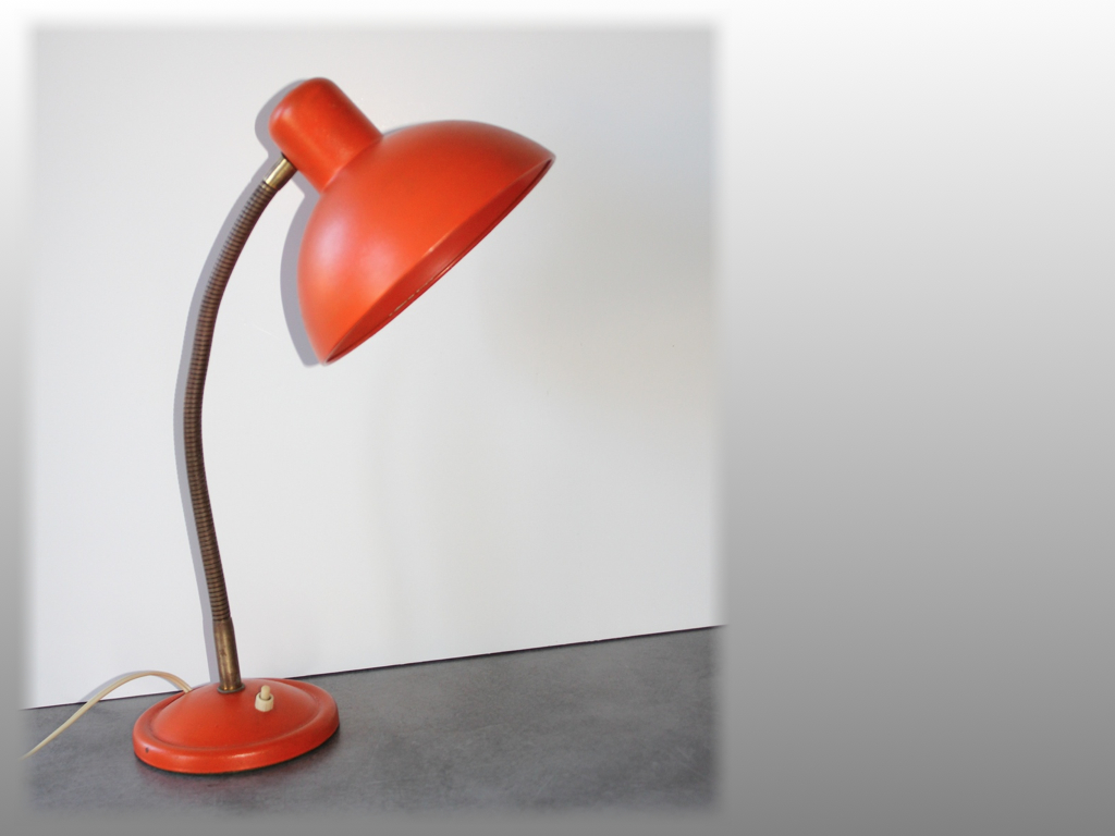 lampe de table orange vintage