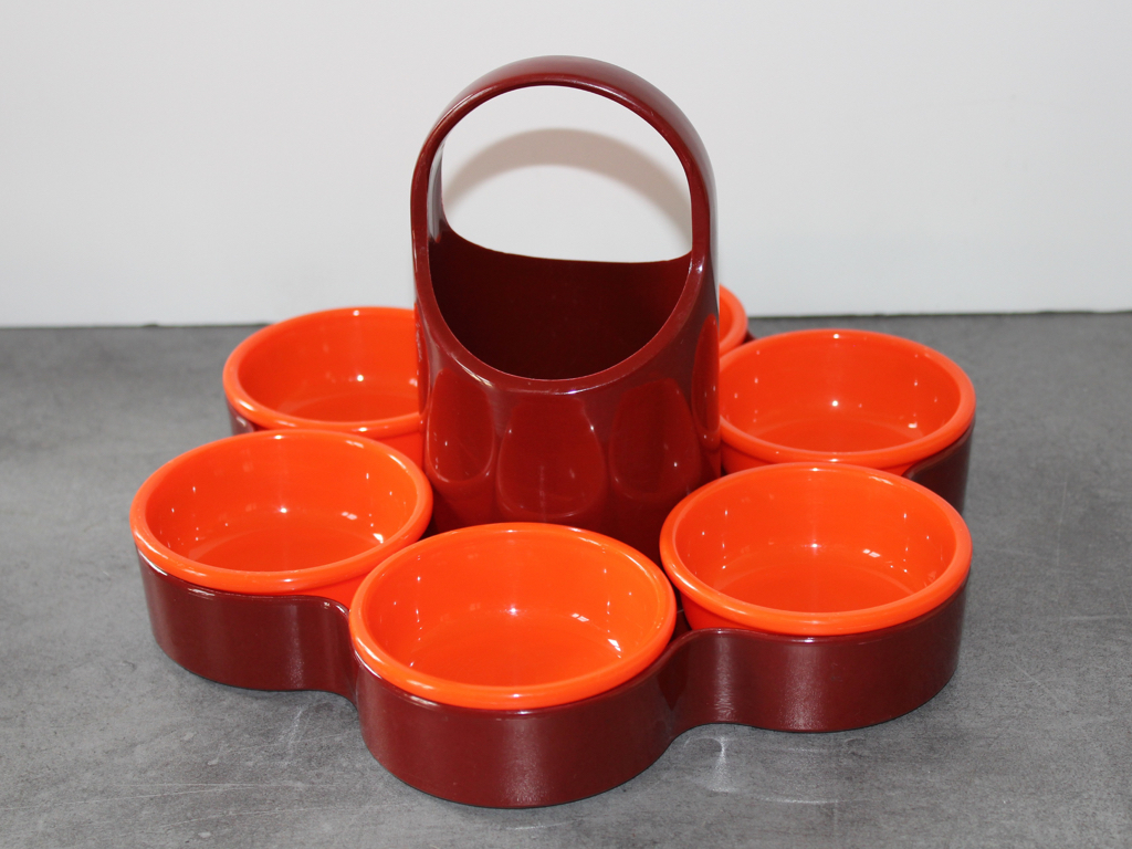 plateau EMSA-A compartiments-plastique orange et marron-vintage