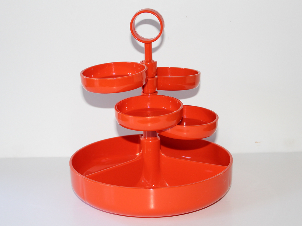 plateau apero-a compartiments-plastique orange-Dialene Better Maid-vintage-